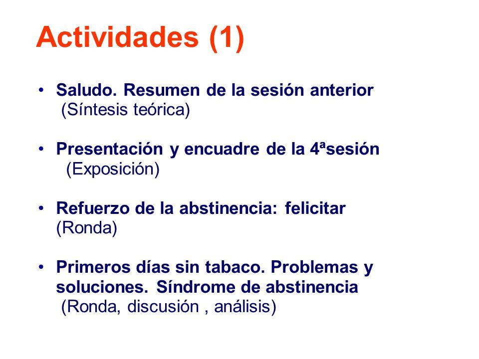 Saludo. Resumen de la sesión anterior (Síntesis teórica) Presentación y encuadre de la 4ªsesión (Exposición) Refuerzo de la abstinencia: felicitar (Ro