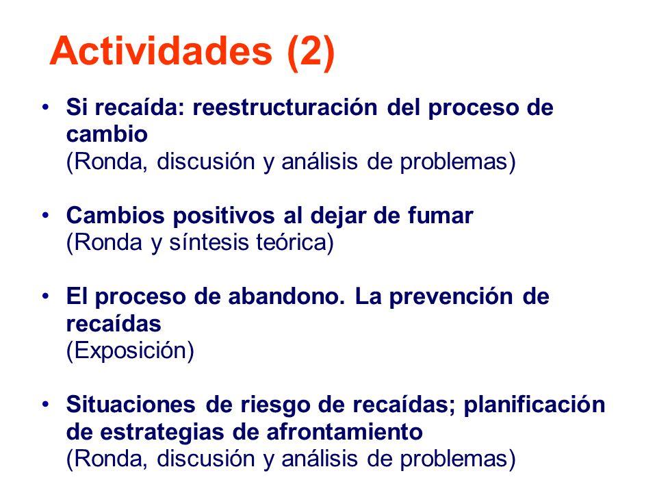 Cooximetría Control de peso si procediera Control y dudas farmacología Entrenamiento ejercicios respiratorios o dudas sobre los mismos (según evolución sesión) Resumen y tareas para casa Compromiso verbal (opcional) Actividades (3)