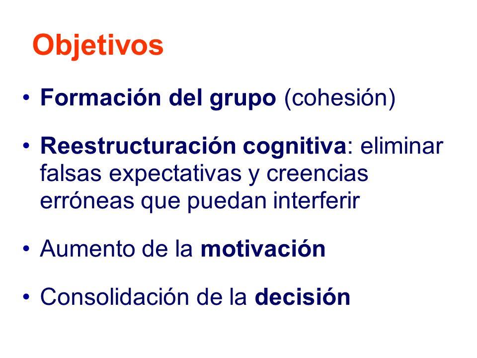 Formación del grupo (cohesión) Reestructuración cognitiva: eliminar falsas expectativas y creencias erróneas que puedan interferir Aumento de la motiv