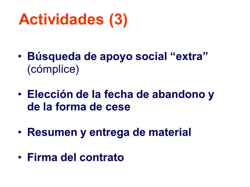Búsqueda de apoyo social extra (cómplice) Elección de la fecha de abandono y de la forma de cese Resumen y entrega de material Firma del contrato Acti