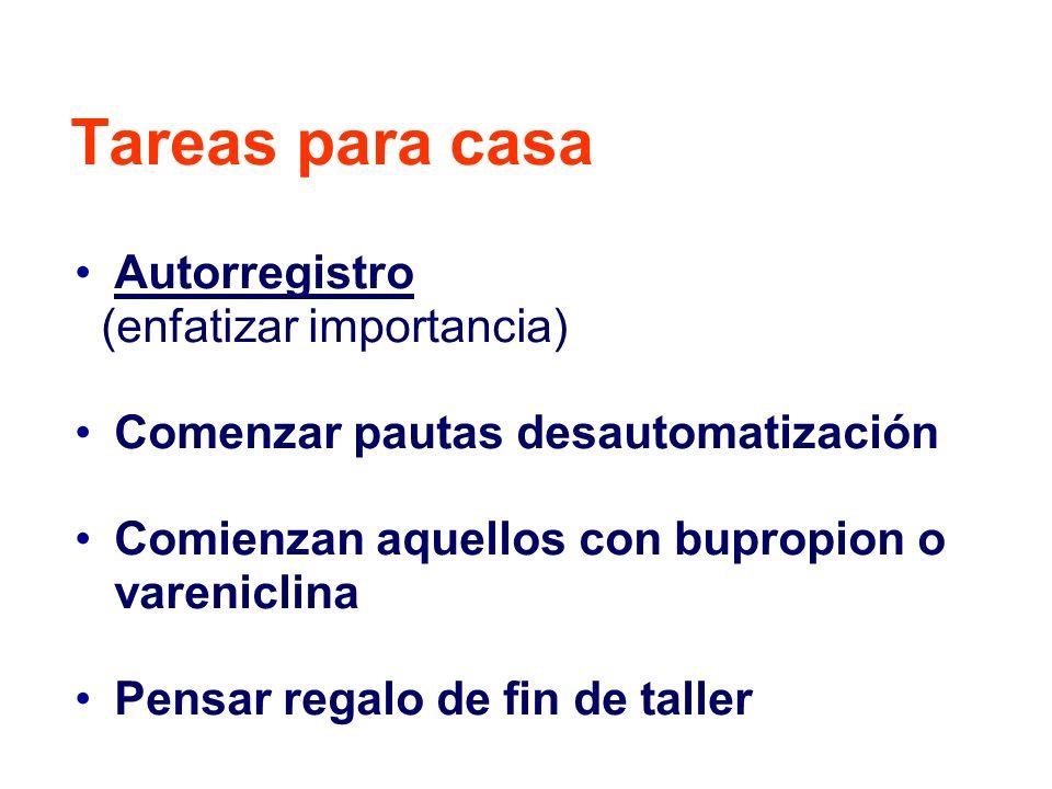 Tareas para casa Autorregistro (enfatizar importancia) Comenzar pautas desautomatización Comienzan aquellos con bupropion o vareniclina Pensar regalo