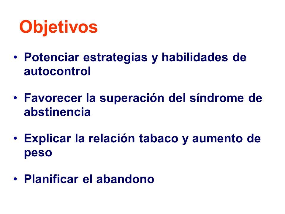Potenciar estrategias y habilidades de autocontrol Favorecer la superación del síndrome de abstinencia Explicar la relación tabaco y aumento de peso P