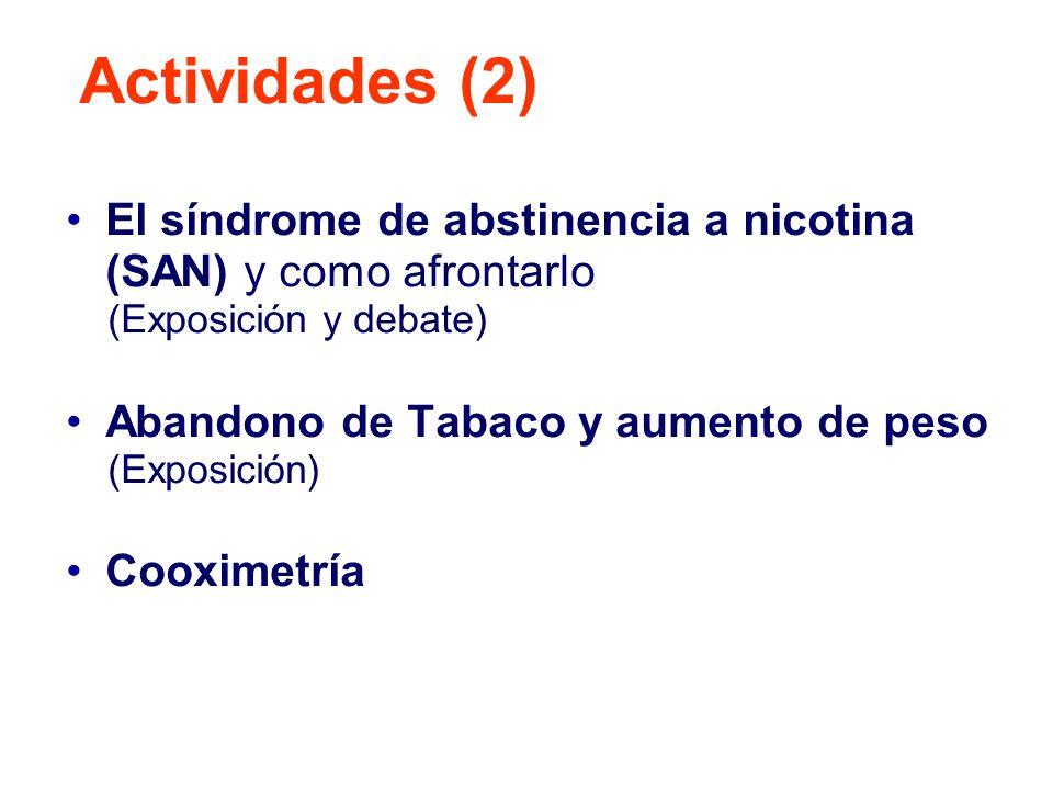 El síndrome de abstinencia a nicotina (SAN) y como afrontarlo (Exposición y debate) Abandono de Tabaco y aumento de peso (Exposición) Cooximetría Acti