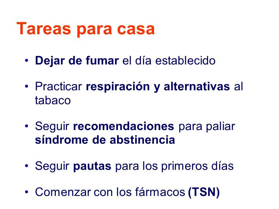 Tareas para casa Dejar de fumar el día establecido Practicar respiración y alternativas al tabaco Seguir recomendaciones para paliar síndrome de absti