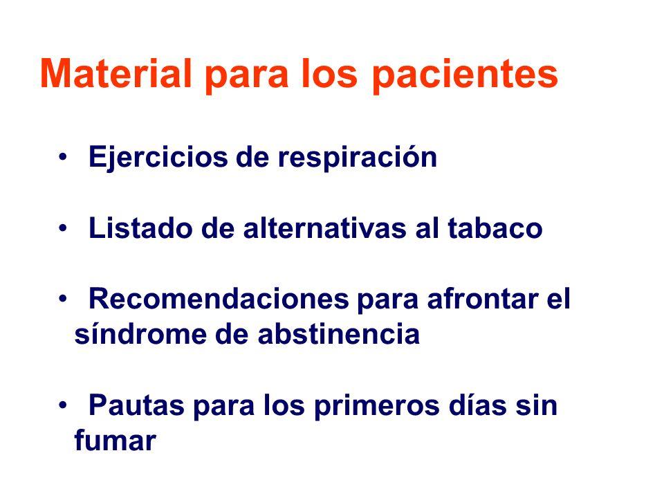Ejercicios de respiración Listado de alternativas al tabaco Recomendaciones para afrontar el síndrome de abstinencia Pautas para los primeros días sin