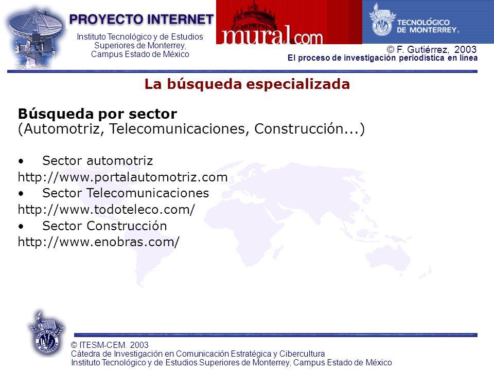 Instituto Tecnológico y de Estudios Superiores de Monterrey, Campus Estado de México © F. Gutiérrez, 2003 © ITESM-CEM. 2003 Cátedra de Investigación e