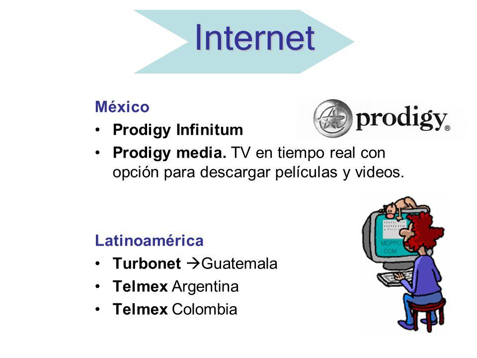 Internet México Prodigy Infinitum Prodigy media. TV en tiempo real con opción para descargar películas y videos. Latinoamérica Turbonet Guatemala Telm