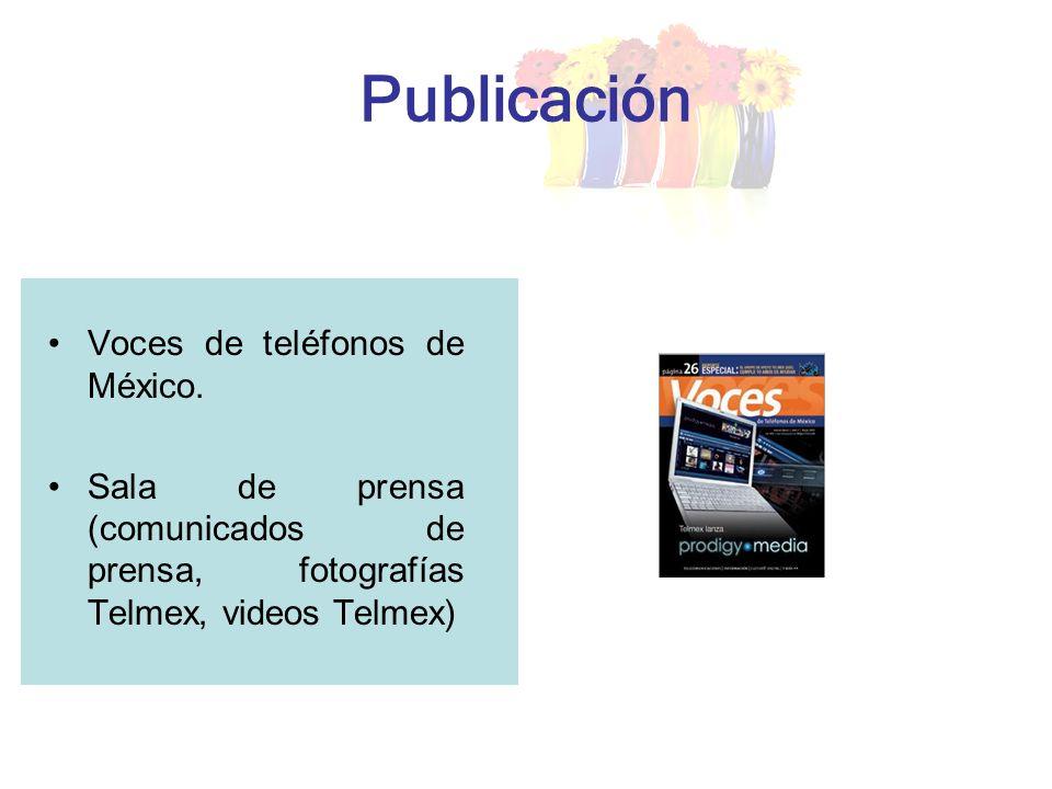 Publicación Voces de teléfonos de México. Sala de prensa (comunicados de prensa, fotografías Telmex, videos Telmex)