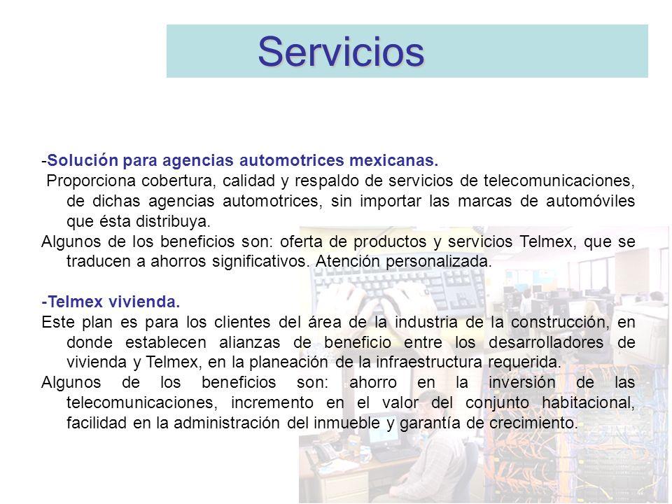 -Solución para agencias automotrices mexicanas. Proporciona cobertura, calidad y respaldo de servicios de telecomunicaciones, de dichas agencias autom