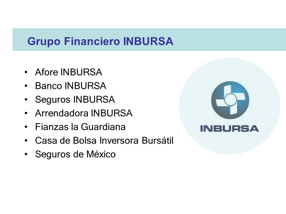 Grupo Financiero INBURSA Afore INBURSA Banco INBURSA Seguros INBURSA Arrendadora INBURSA Fianzas la Guardiana Casa de Bolsa Inversora Bursátil Seguros