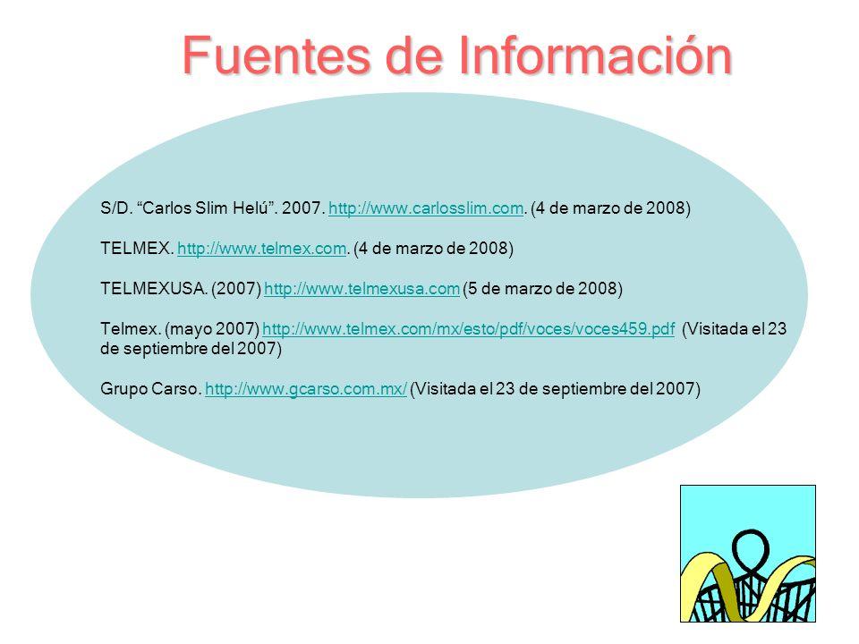 Fuentes de Información S/D. Carlos Slim Helú. 2007. http://www.carlosslim.com. (4 de marzo de 2008)http://www.carlosslim.com TELMEX. http://www.telmex