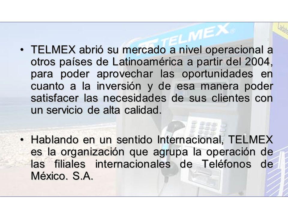 TELMEX abrió su mercado a nivel operacional a otros países de Latinoamérica a partir del 2004, para poder aprovechar las oportunidades en cuanto a la