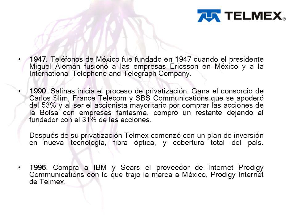 1947. Teléfonos de México fue fundado en 1947 cuando el presidente Miguel Alemán fusionó a las empresas Ericsson en México y a la International Teleph