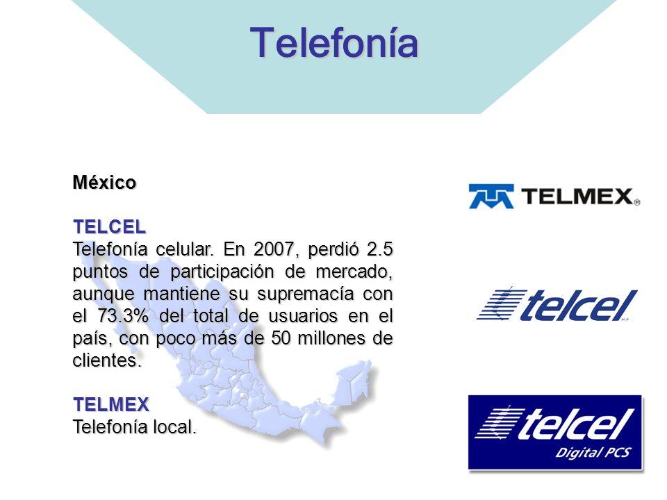 TelefoníaMéxicoTELCEL Telefonía celular. En 2007, perdió 2.5 puntos de participación de mercado, aunque mantiene su supremacía con el 73.3% del total