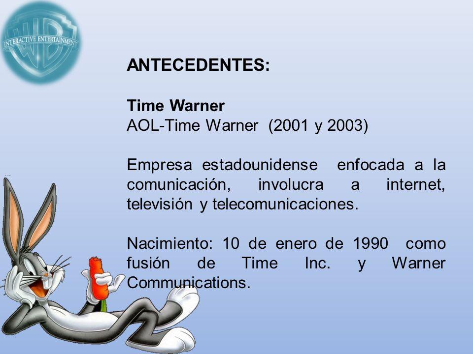 ANTECEDENTES: Time Warner AOL-Time Warner (2001 y 2003) Empresa estadounidense enfocada a la comunicación, involucra a internet, televisión y telecomu