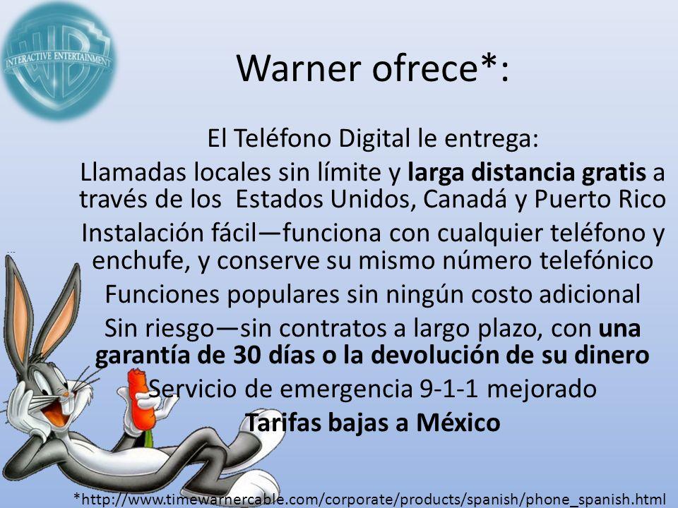 Warner ofrece*: El Teléfono Digital le entrega: Llamadas locales sin límite y larga distancia gratis a través de los Estados Unidos, Canadá y Puerto R