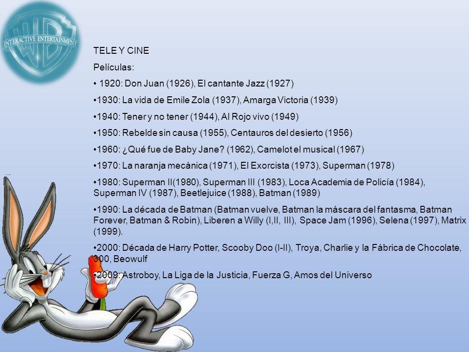 TELE Y CINE Películas: 1920: Don Juan (1926), El cantante Jazz (1927) 1930: La vida de Emile Zola (1937), Amarga Victoria (1939) 1940: Tener y no tene