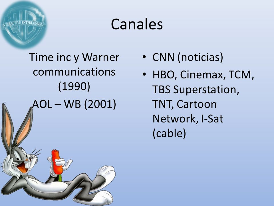 Canales Time inc y Warner communications (1990) AOL – WB (2001) CNN (noticias) HBO, Cinemax, TCM, TBS Superstation, TNT, Cartoon Network, I-Sat (cable