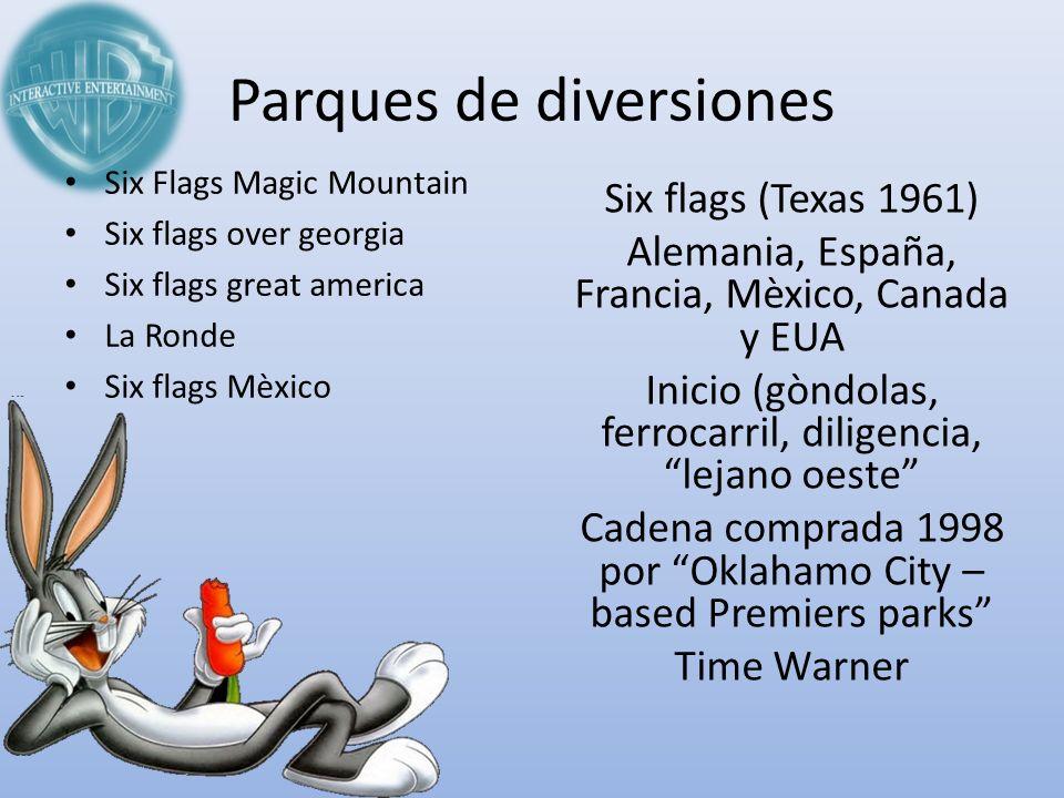 Parques de diversiones Six flags (Texas 1961) Alemania, España, Francia, Mèxico, Canada y EUA Inicio (gòndolas, ferrocarril, diligencia, lejano oeste