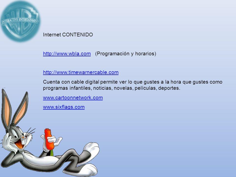 Internet CONTENIDO http://www.wbla.comhttp://www.wbla.com (Programación y horarios) http://www.timewarnercable.com Cuenta con cable digital permite ve