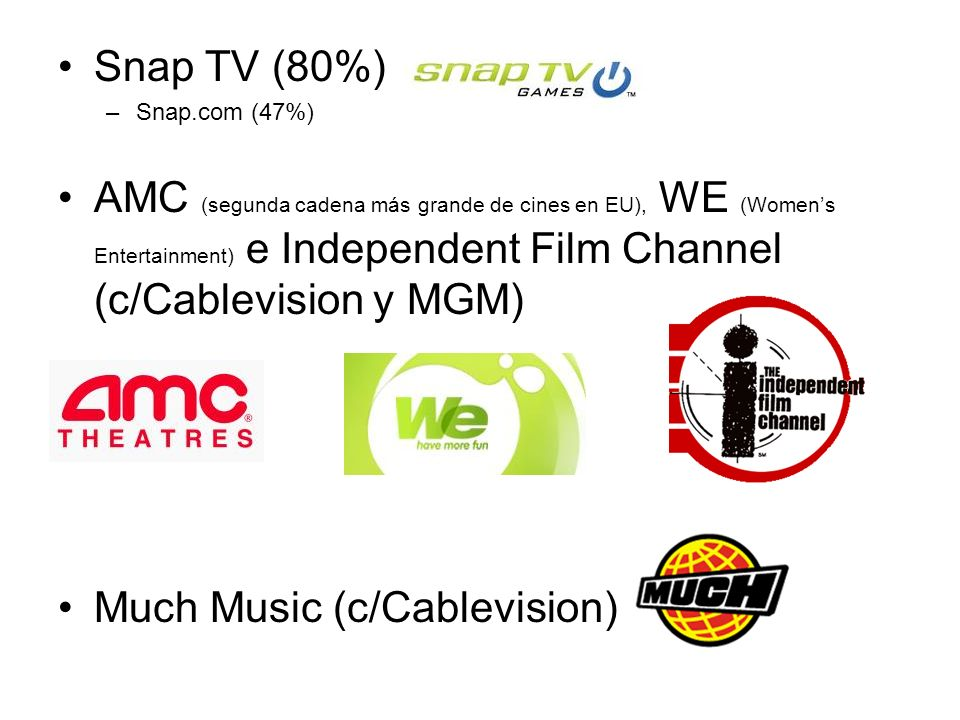 Snap TV (80%) –Snap.com (47%) AMC (segunda cadena más grande de cines en EU), WE (Womens Entertainment) e Independent Film Channel (c/Cablevision y MG