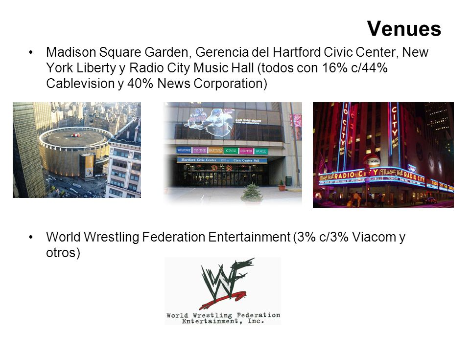 Venues Madison Square Garden, Gerencia del Hartford Civic Center, New York Liberty y Radio City Music Hall (todos con 16% c/44% Cablevision y 40% News