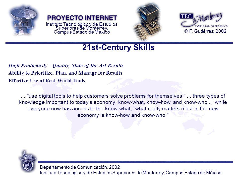 Departamento de Comunicación. 2002 Instituto Tecnológico y de Estudios Superiores de Monterrey, Campus Estado de México Instituto Tecnológico y de Est
