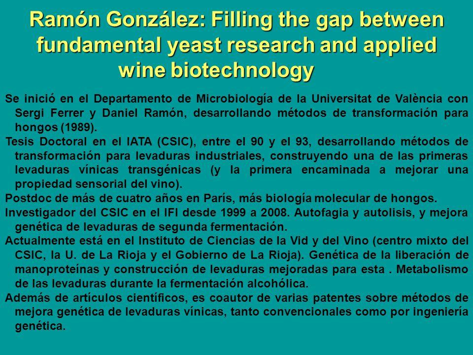 Ramón González: Filling the gap between fundamental yeast research and applied wine biotechnology Se inició en el Departamento de Microbiología de la