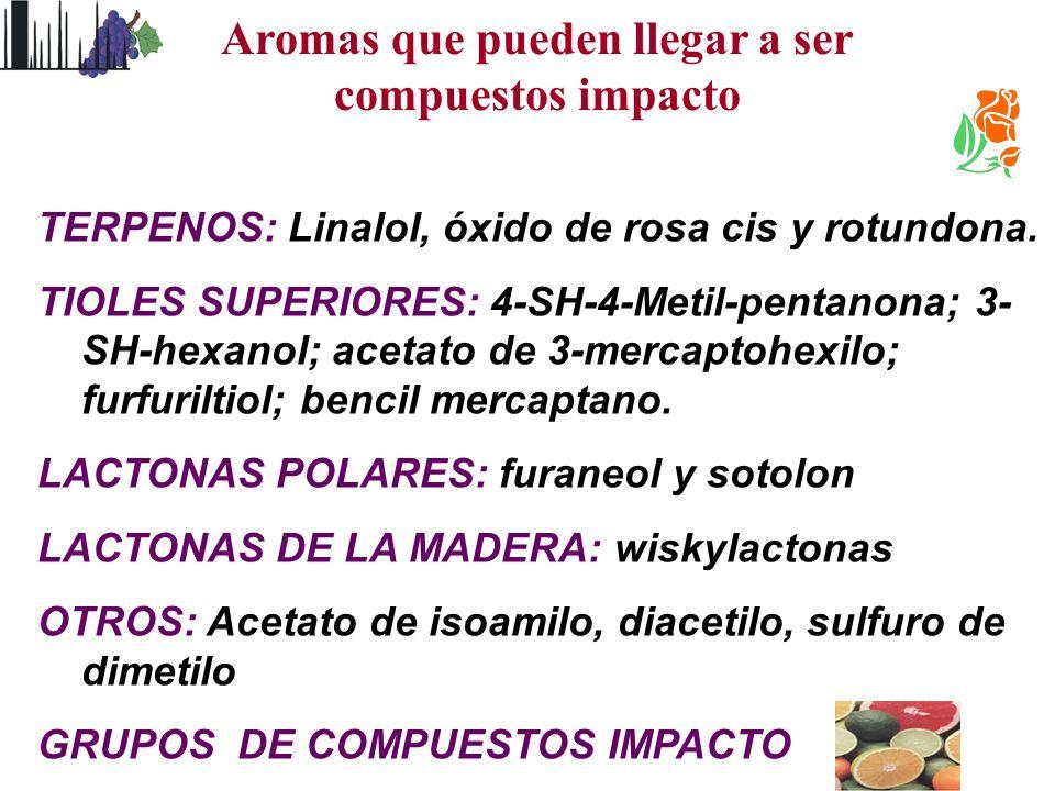 TERPENOS: Linalol, óxido de rosa cis y rotundona. TIOLES SUPERIORES: 4-SH-4-Metil-pentanona; 3- SH-hexanol; acetato de 3-mercaptohexilo; furfuriltiol;