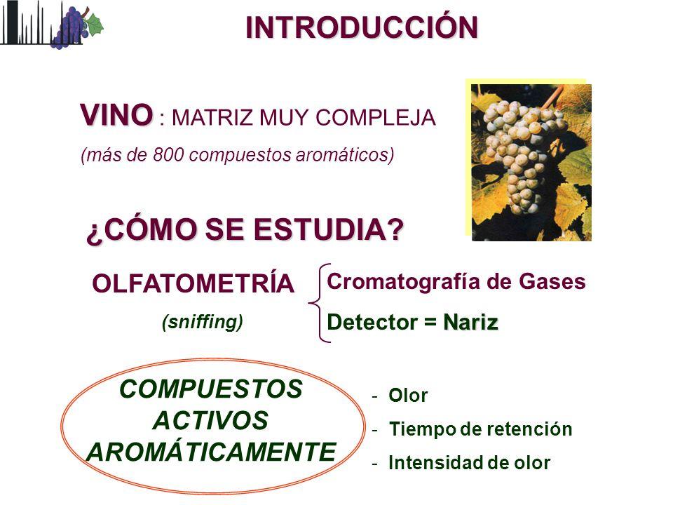 INTRODUCCIÓN OLFATOMETRÍA (sniffing) Cromatografía de Gases Nariz Detector = Nariz ¿CÓMO SE ESTUDIA? - Olor - Tiempo de retención - Intensidad de olor