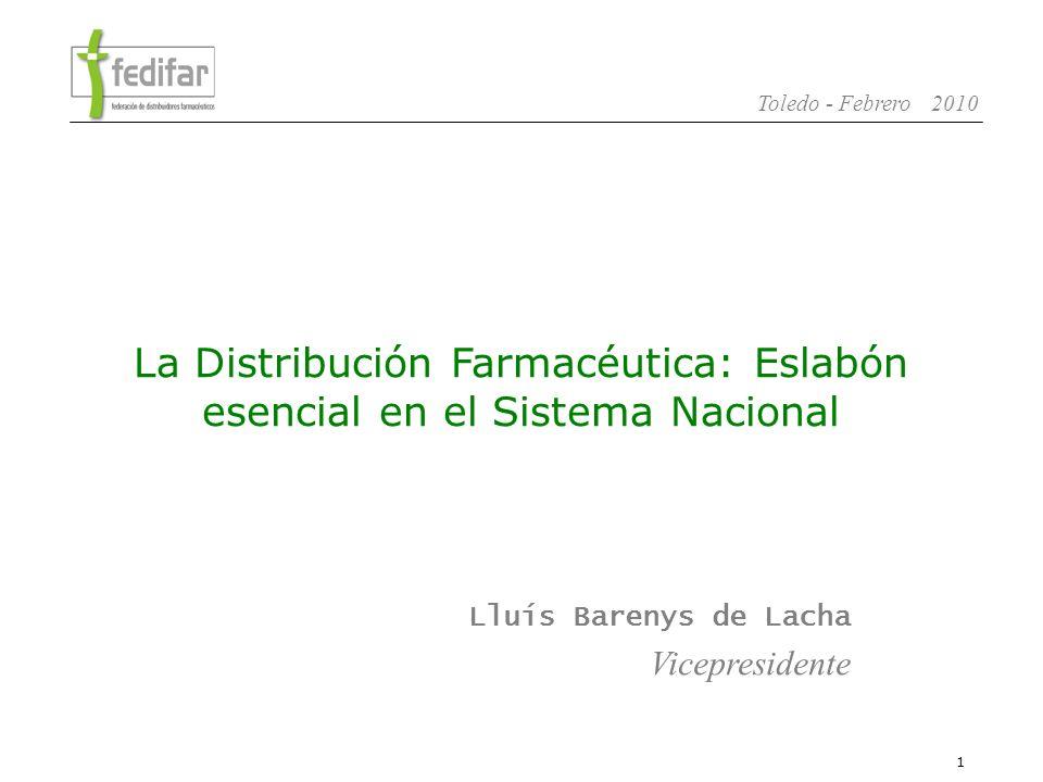 2 Toledo - Febrero 2010 1.La Distribución Farmacéutica en España 2.Modelo Solidario de Distribución.