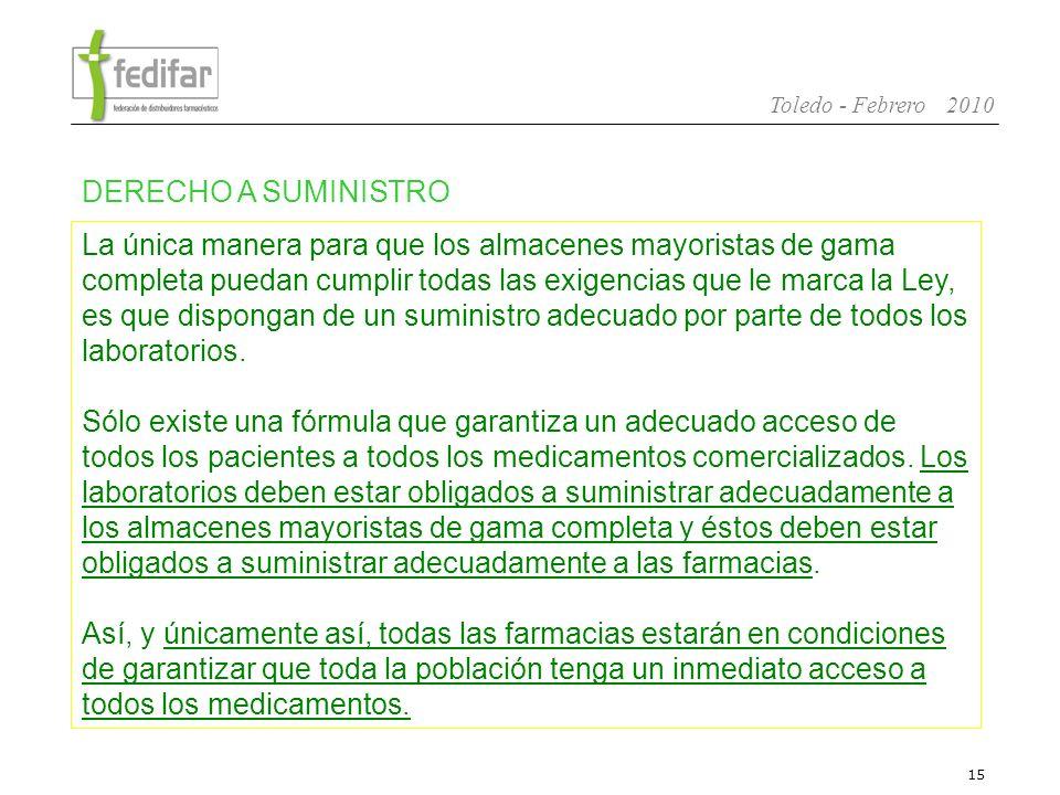 16 Toledo - Febrero 2010 Con el derecho de la Distribución de Amplia Gama a ser suministrada por todos los laboratorios, se preserva el modelo Solidario de Distribución Farmacéutica y se garantiza un adecuado acceso de los ciudadanos a todos los medicamentos.