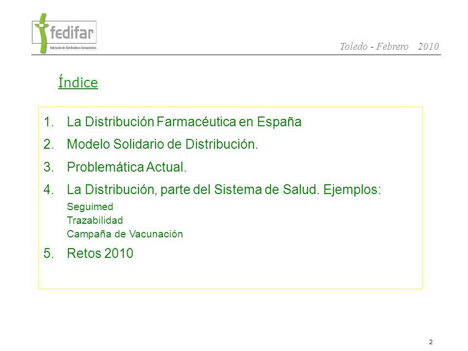 3 Toledo - Febrero 2010 1.La Distribución Farmacéutica en España 2.Modelo Solidario de Distribución.