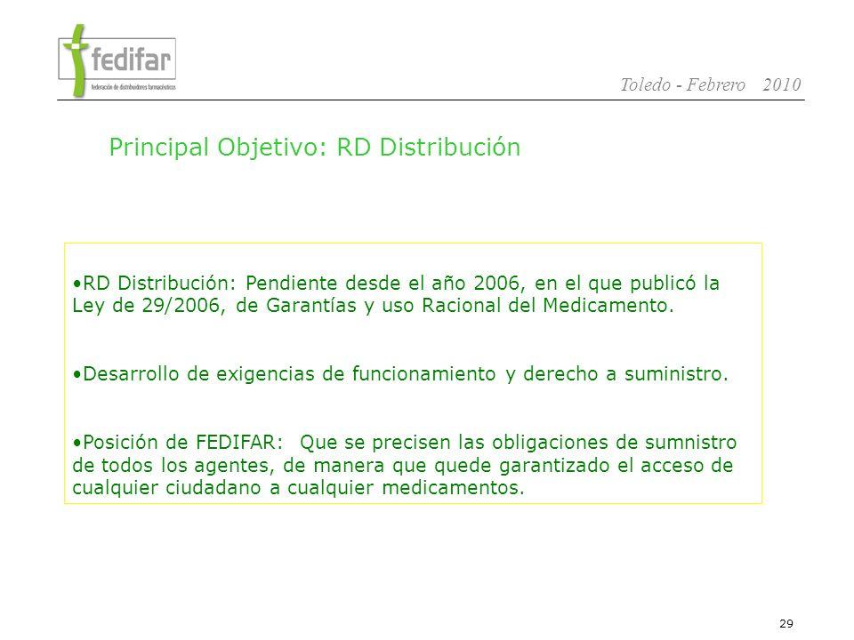 30 Toledo - Febrero 2010 Consolidar la situación interna con la aprobación de modificaciones es Estatutarias y en la nueva Estructura.