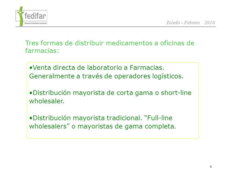 7 Toledo - Febrero 2010 El laboratorio es responsable de la distribución de sus productos.