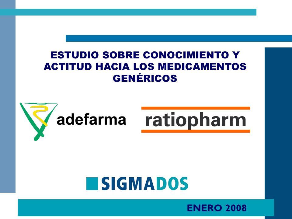 ENERO 2008 ESTUDIO SOBRE CONOCIMIENTO Y ACTITUD HACIA LOS MEDICAMENTOS GENÉRICOS -POBLACIÓN GENERAL-