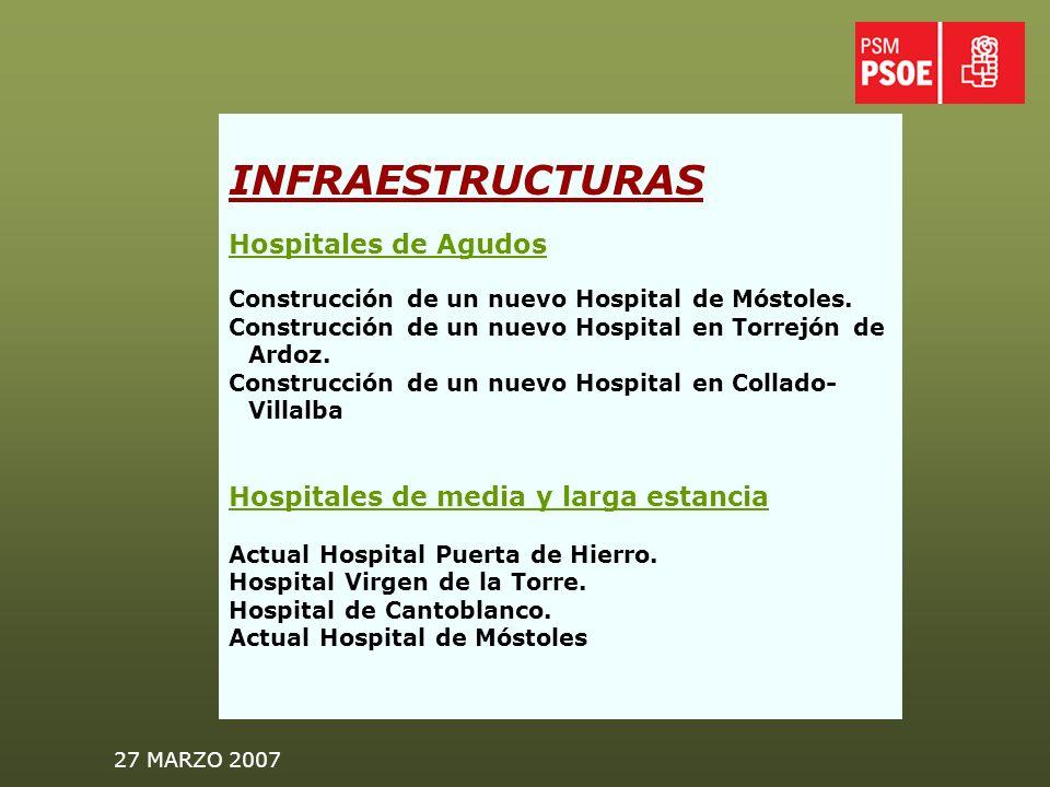 27 MARZO 2007 INFRAESTRUCTURAS Hospitales de Agudos Construcción de un nuevo Hospital de Móstoles.