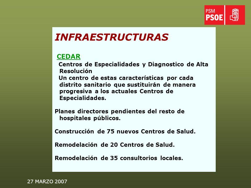 27 MARZO 2007 INFRAESTRUCTURAS CEDAR Centros de Especialidades y Diagnostico de Alta Resolución Un centro de estas características por cada distrito sanitario que sustituirán de manera progresiva a los actuales Centros de Especialidades.