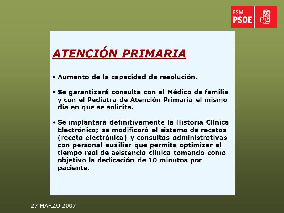 27 MARZO 2007 ATENCIÓN PRIMARIA Aumento de la capacidad de resolución.