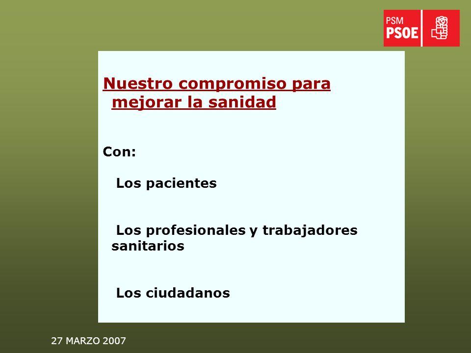27 MARZO 2007 Nuestro compromiso para mejorar la sanidad Con: Los pacientes Los profesionales y trabajadores sanitarios Los ciudadanos