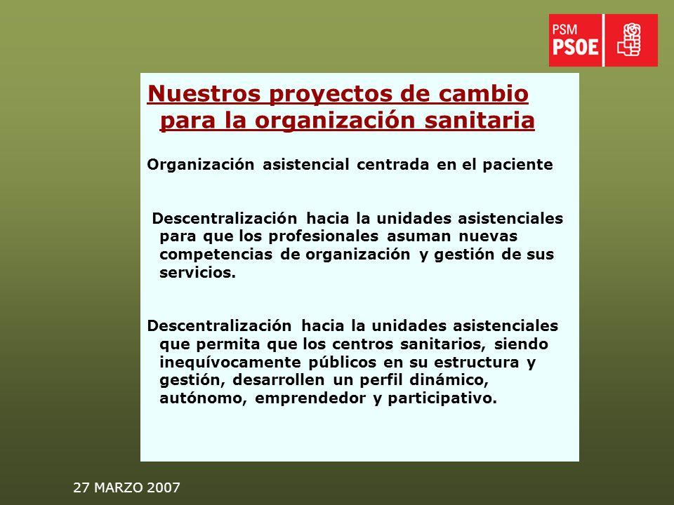 27 MARZO 2007 Nuestros proyectos de cambio para la organización sanitaria Organización asistencial centrada en el paciente Descentralización hacia la unidades asistenciales para que los profesionales asuman nuevas competencias de organización y gestión de sus servicios.