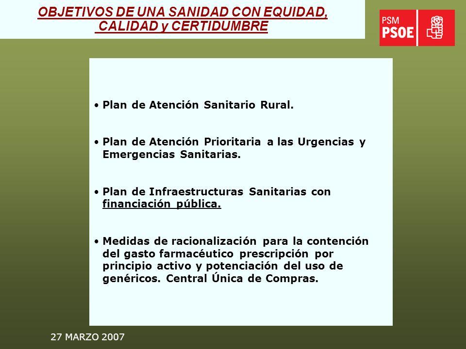 27 MARZO 2007 Plan Regional de Salud Mental.