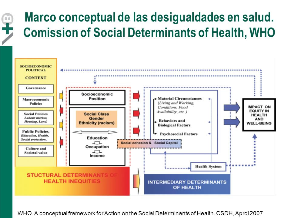Marco conceptual de las desigualdades en salud. Comission of Social Determinants of Health, WHO WHO. A conceptual framework for Action on the Social D