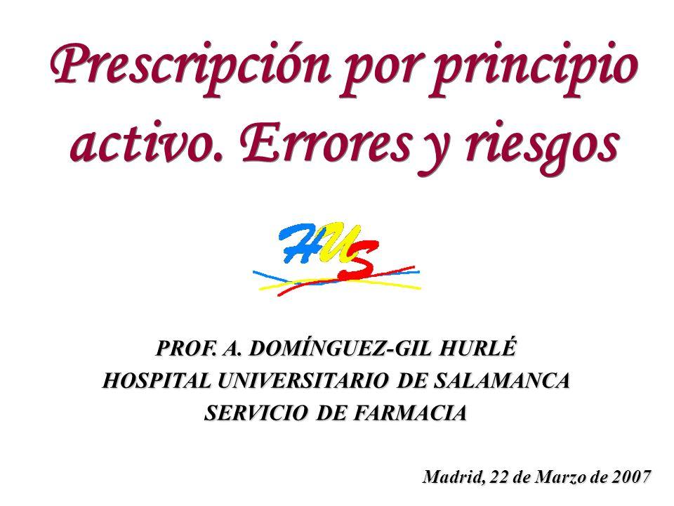 PROF. A. DOMÍNGUEZ-GIL HURLÉ HOSPITAL UNIVERSITARIO DE SALAMANCA SERVICIO DE FARMACIA Prescripción por principio activo. Errores y riesgos Prescripció