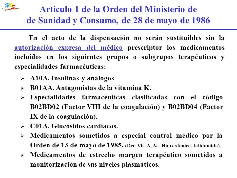 En el acto de la dispensación no serán sustituibles sin la autorización expresa del médico prescriptor los medicamentos incluidos en los siguientes gr