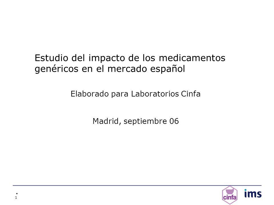 1 Estudio del impacto de los medicamentos genéricos en el mercado español Elaborado para Laboratorios Cinfa Madrid, septiembre 06