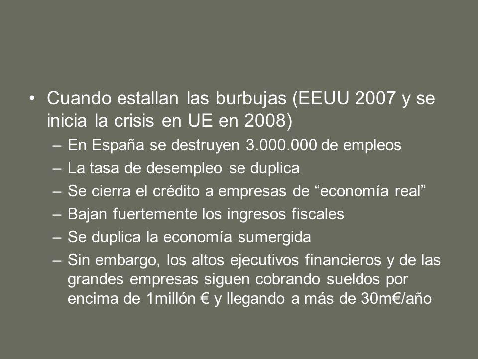 Cuando estallan las burbujas (EEUU 2007 y se inicia la crisis en UE en 2008) –En España se destruyen 3.000.000 de empleos –La tasa de desempleo se duplica –Se cierra el crédito a empresas de economía real –Bajan fuertemente los ingresos fiscales –Se duplica la economía sumergida –Sin embargo, los altos ejecutivos financieros y de las grandes empresas siguen cobrando sueldos por encima de 1millón y llegando a más de 30m/año