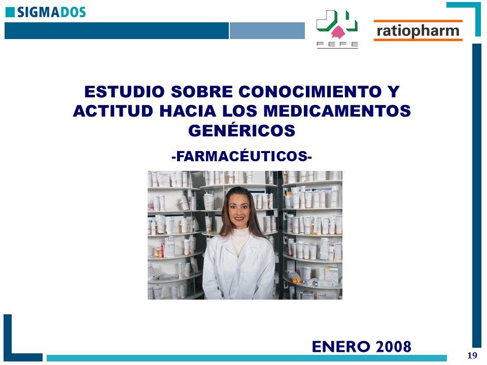 19 ENERO 2008 ESTUDIO SOBRE CONOCIMIENTO Y ACTITUD HACIA LOS MEDICAMENTOS GENÉRICOS -FARMACÉUTICOS-