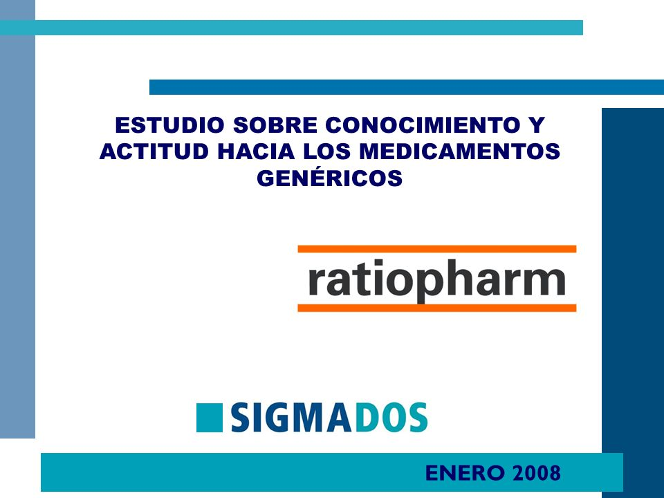 3 Se presentan a continuación los principales resultados del estudio realizado por SIGMA DOS para RATIOPHARM Y FEFE SOBRE Conocimiento y actitud hacia los medicamentos genéricos entre Población General, Médicos y Farmacéuticos.