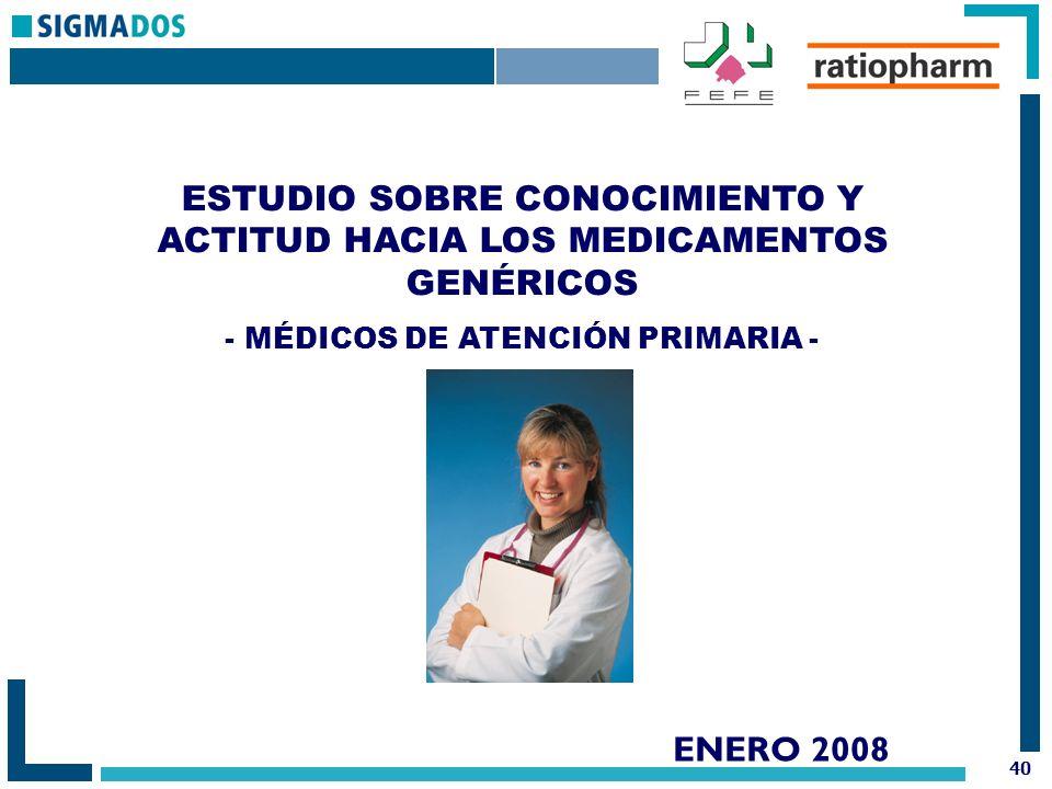 40 ENERO 2008 ESTUDIO SOBRE CONOCIMIENTO Y ACTITUD HACIA LOS MEDICAMENTOS GENÉRICOS - MÉDICOS DE ATENCIÓN PRIMARIA -
